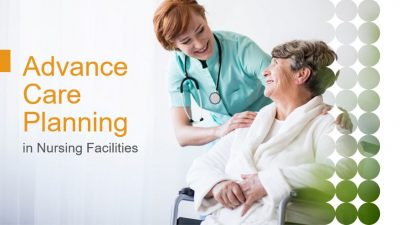 Title Slide with photo of a nurse talking with a resident