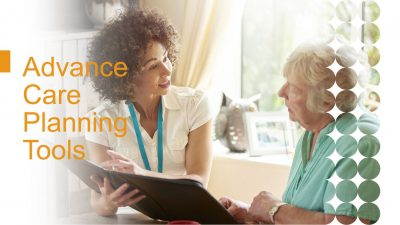 image of an advance care planning specialist speaking with a resident